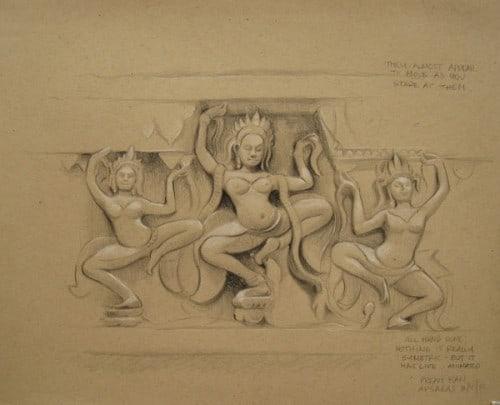 Carved Relief's of Dancing Apsaras, Preah Khan, Angkor, Cambodia