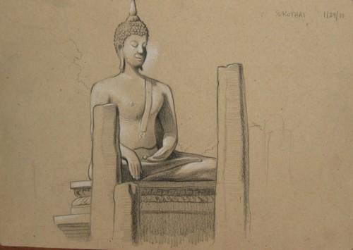Sculpted Buddha, Sukothai ,Thailand