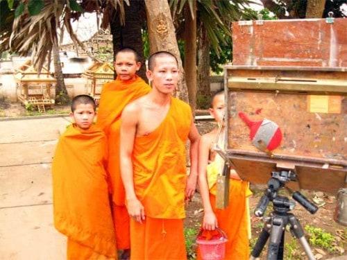 Monks watching me paint - Luang Prabang, Laos