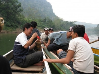 Partying on the Nam Ou River, Laos