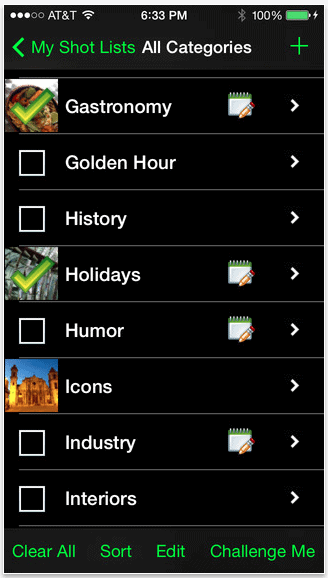 My Shot Lists for Travel – iPhone App for Photographers