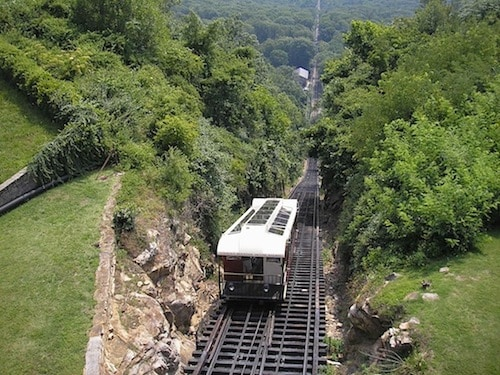 View of Incline Railway said to have steepest section of rail in the world