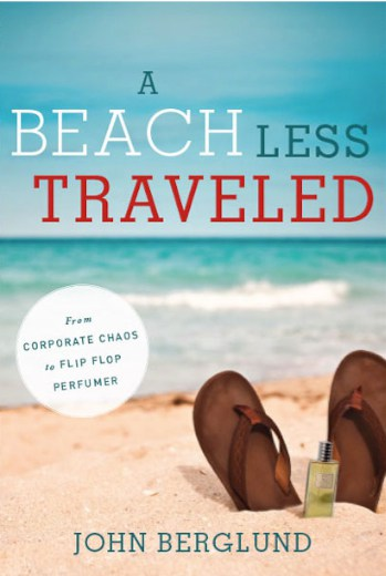 Sandals on a beach depict a different pace and path of life as written about by John Berglund