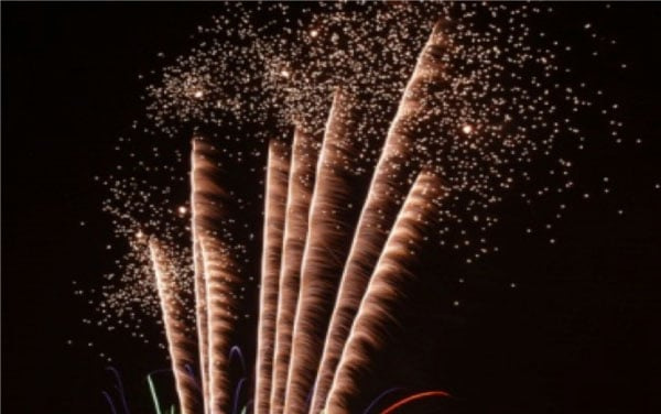 Fireworks explode in the night sky as part of Bonfire Night celebrations