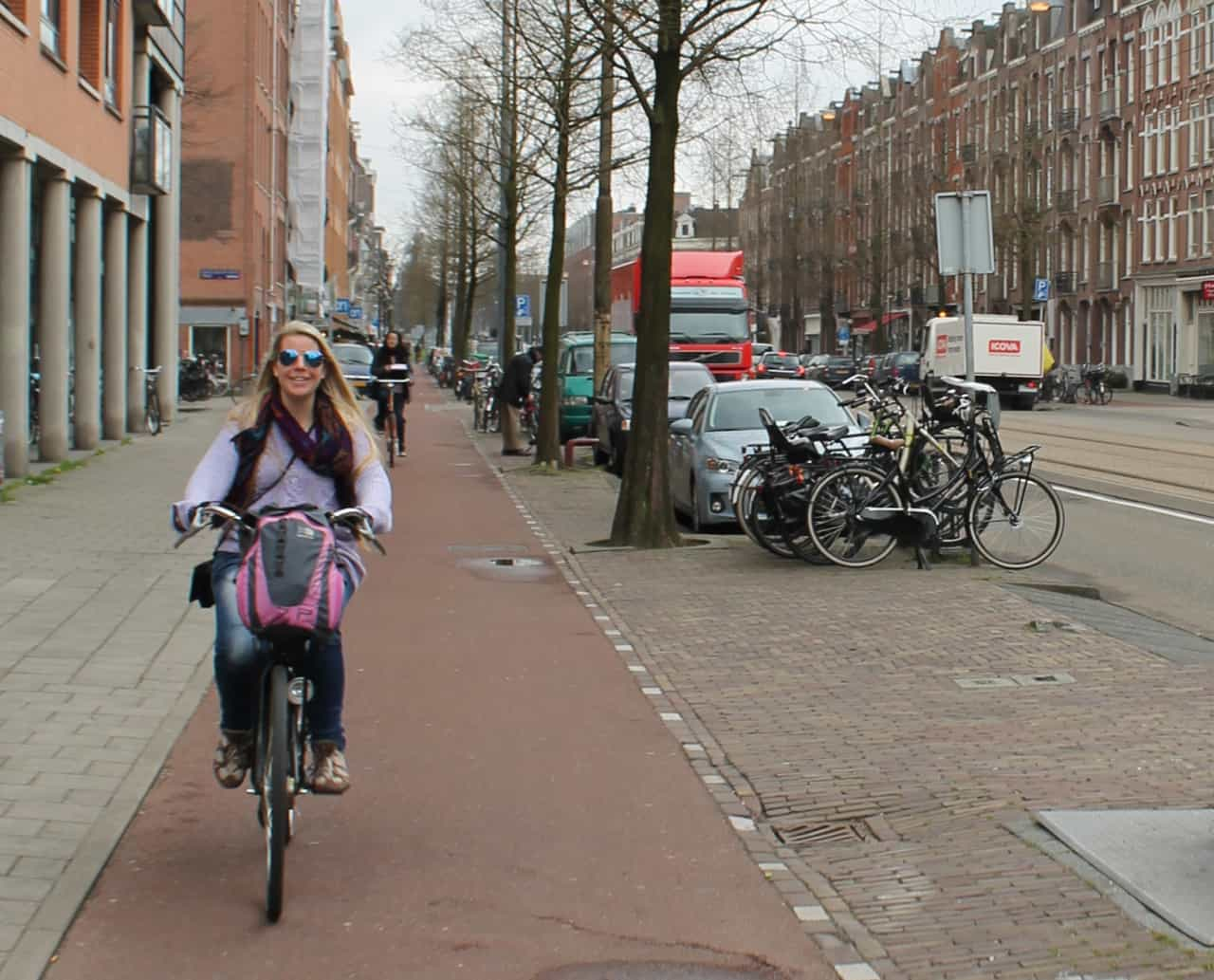 My friend Toni, loving the freedom of biking in Amsterdam