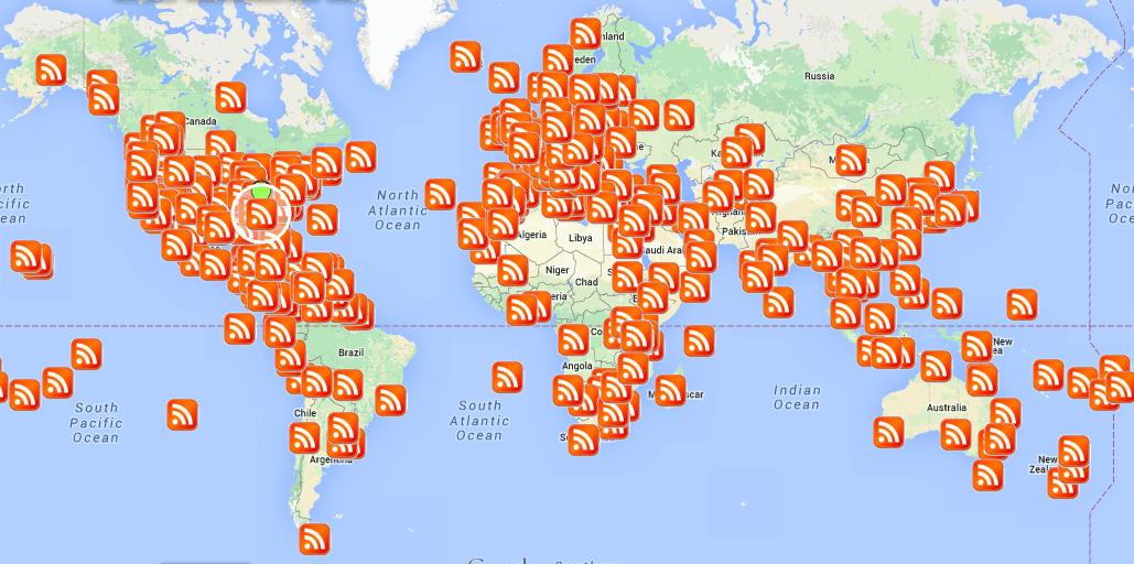 map of Amateur Traveler episodes