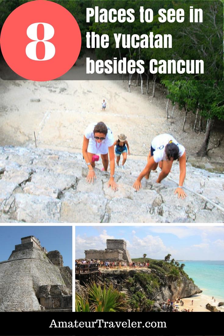 8 Places to see in Mexico's Yucatan Peninsula outside Cancun: Grutas (Caves) de Loltun, Merida, Chichen Itza Tulum, Uxmal Coba, Grand Cenote Playa del Carmen