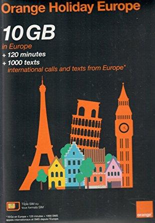 Orange Holiday Europe prepaid SIM card 10GB