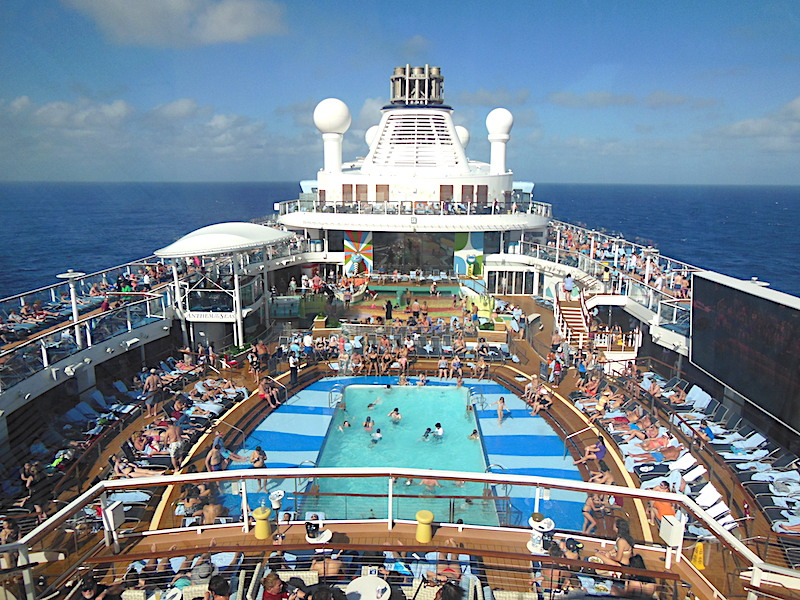 Crowded pool deck of RC Anthem of the Seas