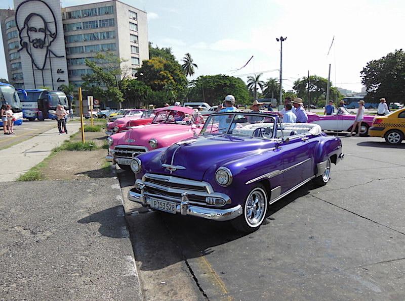 Restored American Classic Cars in Revolution Square