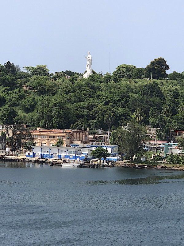 The statue of El Cristo de La Habana overlooking Havana Harbor