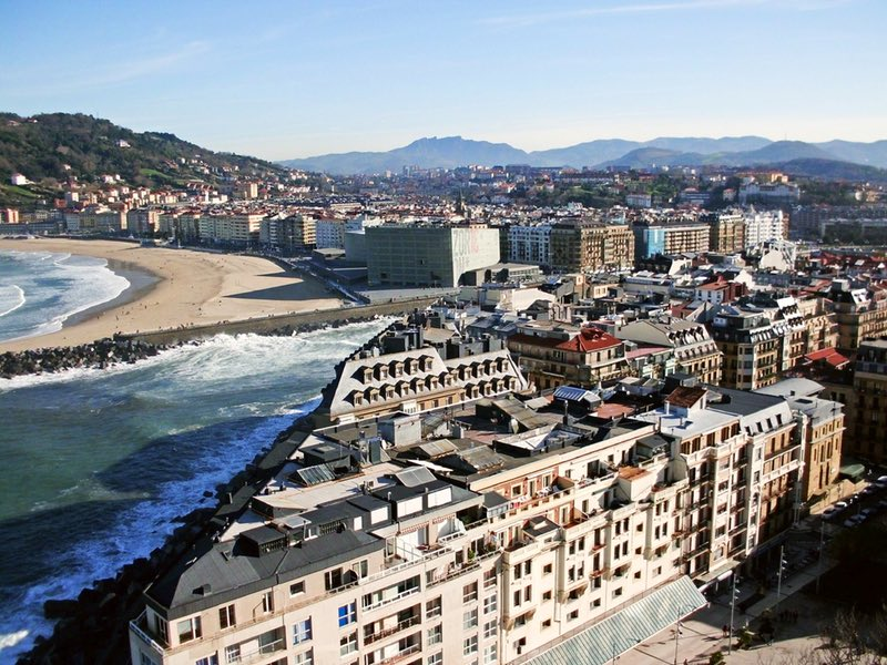 aerial view of buildings near the sea - San Sebastian Spain