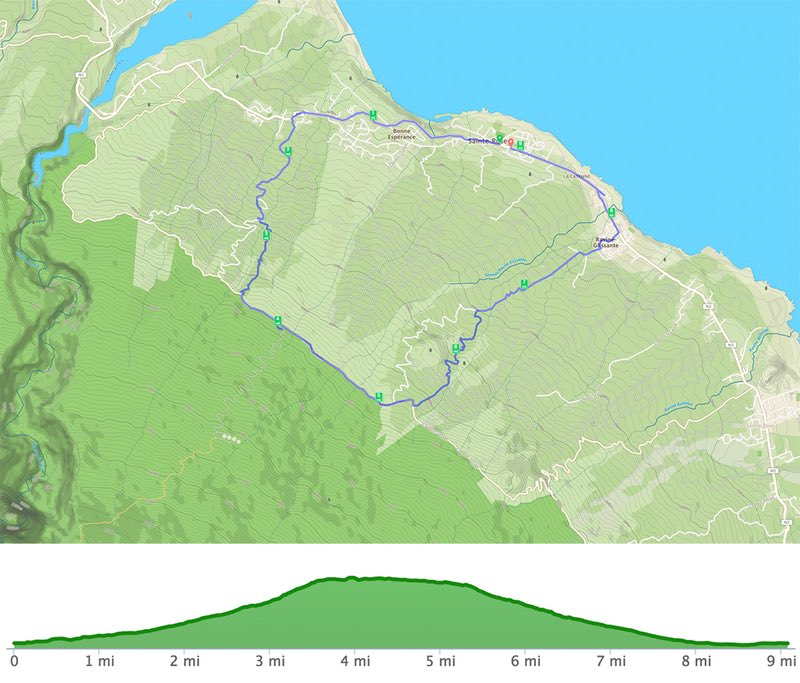 running route on Reunion Island