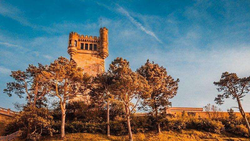 Old Tower Near Trees - San Sebastian Spain