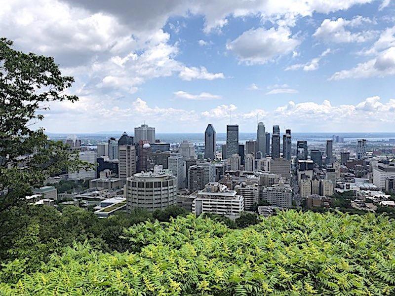 A view of the Montreal skyline from the Belvédère Kondiaronk atop Mount Royal