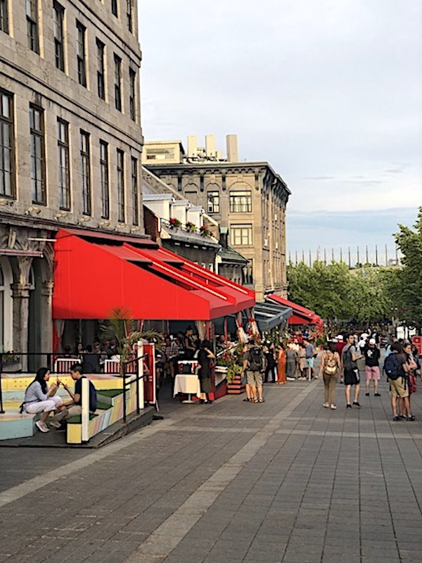Restaurants along the Place Jacques Cartier in the center of Old Montreal