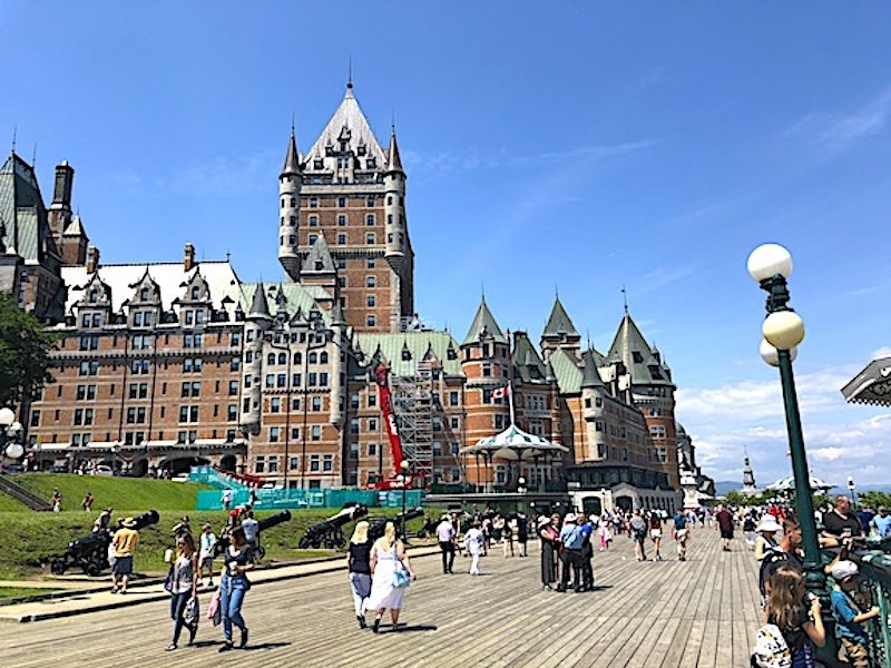 The Terrace Dufferin boardwalk on the cliffs of Old Quebec in front of the Fairmont Le Château Frontenac