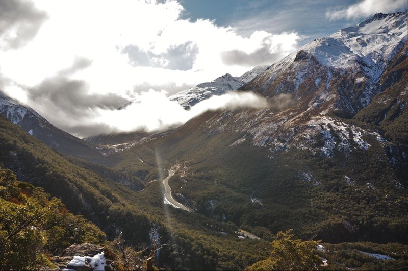 Looking over Arthur's Pass Highway from the Avalanche Peak Track