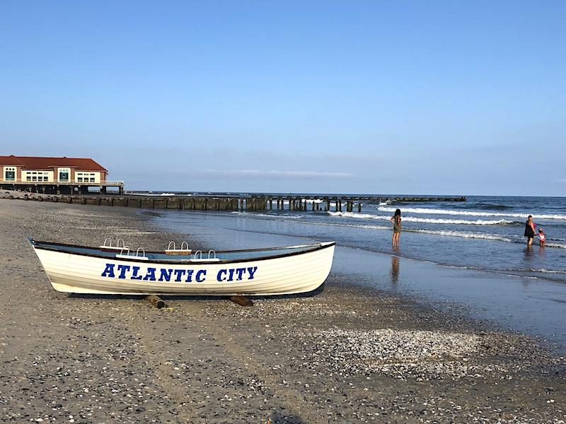 The Atlantic City beach along the Atlantic Ocean