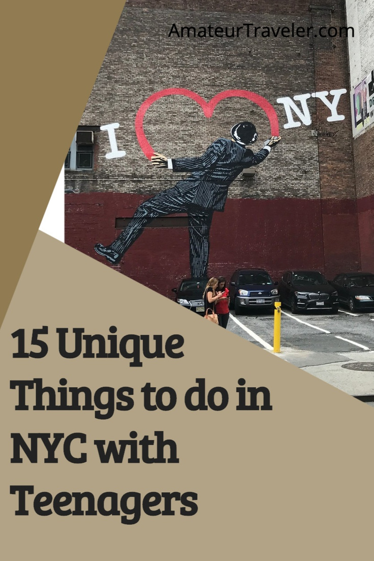 15 Unique Things to do in NYC with Teenagers. There is more to do in NYC than the Statue of Liberty and a Broadway show, learn things to do with your teenagers in the Big Apple. #travel #trip #vacation #nyc #new-york #things-to-do-in #teenager #teenagers
