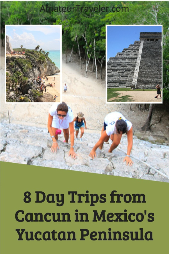 8 Places that can be seen in a day trip from Cancun... although for some you may want to stay longer. , Mayan ruins, a cave, a beach town, and a cenote. #mexico #yucatan #travel #trip #vacation #Mayan #beach #Chichen-Itza #Tulum #Merida #places #things-to-do-in