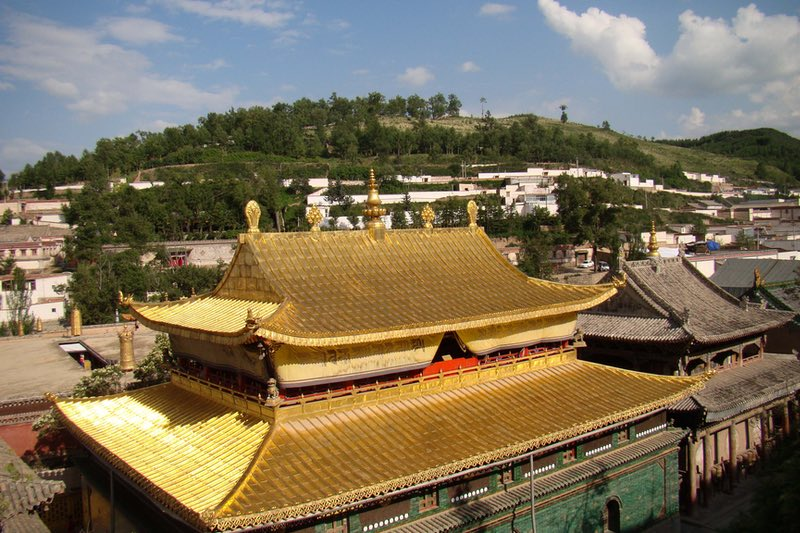The Golden Roofed temples of Kumbum Monastery in Xiding